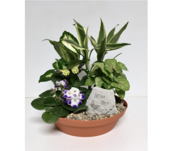 Miss You Garden Stone Dish Garden- 10 inch Planter in Wyoming MI, Wyoming Stuyvesant Floral