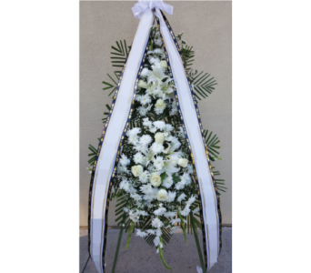 All White Two Tiered Standing Spray in San Diego CA, The Floral Gallery