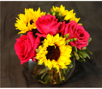 Sunflower and Rose Bowl  in Merrick NY, Feldis Florists