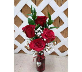 4 Red Rose Bud Vase in Purcellville VA, Purcellville Florist