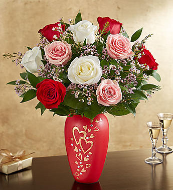 Valentines day flowers delivery colorado springs co sandys romantic medley in follow your heart vase in colorado springs co sandys flowers mightylinksfo