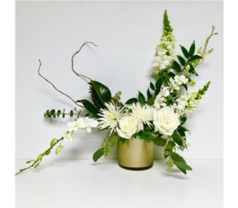 Cream Rose and White Orchid-5x5 Champagne Cylinder in Wyoming MI, Wyoming Stuyvesant Floral