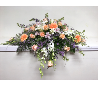 Peach and Lavender Garden Casket Spray in Wyoming MI, Wyoming Stuyvesant Floral