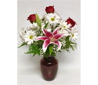 Valentine Traditions - 8 inch Red Vase in Wyoming MI, Wyoming Stuyvesant Floral
