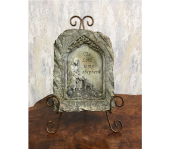 The Lord is My Shepherd Memorial Plaque with Easel in Wyoming MI, Wyoming Stuyvesant Floral
