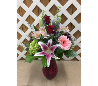 Valentines Mix With Red Roses in a Jewel Tone Vase in Purcellville VA, Purcellville Florist
