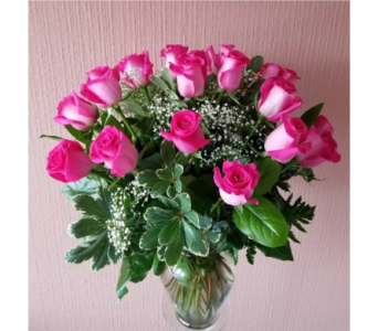 2 Dozen Pink Roses in Staten Island NY, Kitty's and Family Florist Inc.