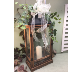 Wood Lantern with Decorative Metal Bottom  in Owensboro KY, Welborn's Floral Company