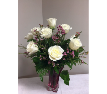 One Dozen White Roses in Laurel MD, Rainbow Florist & Delectables, Inc.