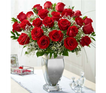 Premium Long Stem Red Roses in Silver Vase in Pittsburgh PA, Eiseltown Flowers & Gifts