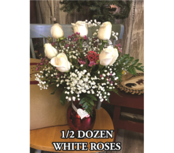 Half Dozen White Roses in Waynesburg PA, The Perfect Arrangement Inc