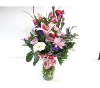 Be Mine Pastel Vase in Worcester MA, Holmes Shusas Florists, Inc