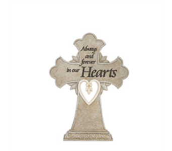 Luminous Garden Heart Pedestal Cross in East McKeesport PA, Lea's Floral Shop