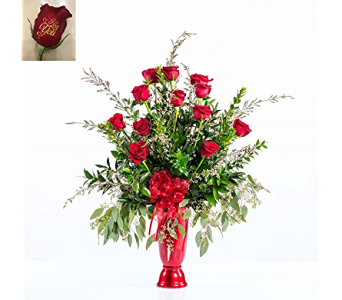 Embossed Roses Red Vase in Tyler TX, Flowers by LouAnn