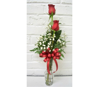 Two Red Rose Budvase in Springfield MO, House of Flowers Inc.