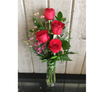 4 Roses Arranged  in Wallaceburg ON, Westbrook's Flower Shoppe
