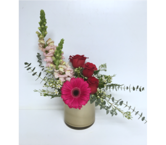 Simply Romantic- Champagne Gold 5x5 Cylinder Vase in Wyoming MI, Wyoming Stuyvesant Floral