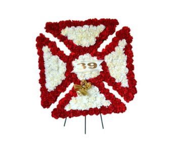 Specialty Spray - Firefighter Shield  in Trumbull CT, P.J.'s Garden Exchange Flower & Gift Shoppe