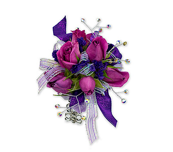 Royal Purple Wrist Corsage in Oshkosh WI, Flowers & Leaves LLC