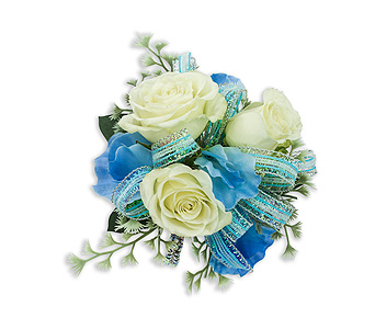 Caribbean Wrist Corsage in Oshkosh WI, Flowers & Leaves LLC