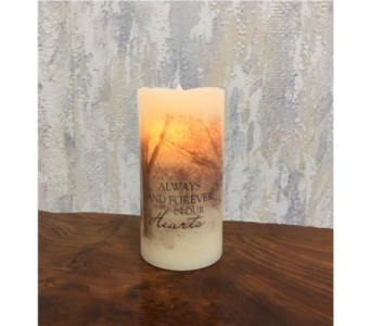 Forever in Our Hearts Premier Flicker LED Candle in Wyoming MI, Wyoming Stuyvesant Floral