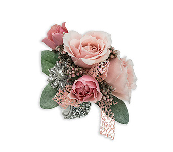 Victorian Blush Wrist Corsage in Corunna ON, KAY'S Petals & Plants