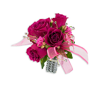 Fuchsia Wrist Corsage in Oshkosh WI, Flowers & Leaves LLC