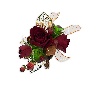 Ruby Metallic Wrist Corsage in College Station TX, Postoak Florist