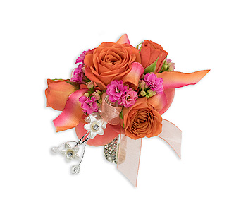Sherbet Wrist Corsage in Oshkosh WI, Flowers & Leaves LLC