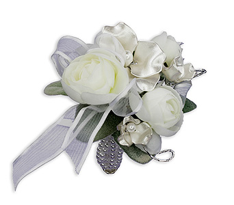 Satin Pearl Wrist Corsage in Broomfield CO, Bouquet Boutique, Inc.