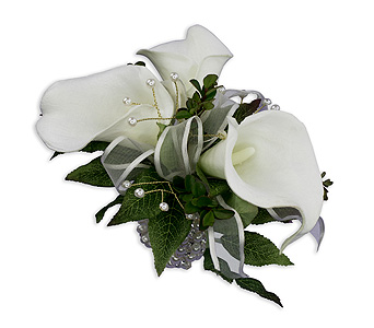 Lily Pearl Wrist Corsage in Chesterton IN, The Flower Cart, Inc