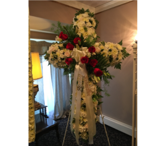 Cushion Cross with Rose Break in Staten Island NY, Kitty's and Family Florist Inc.