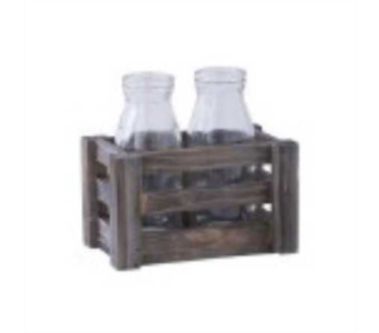 Wooden Crate & Two Piece Glass Bottles Set in Oviedo FL, Oviedo Florist