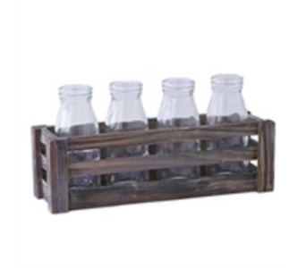 Wooden Crate & Four Piece Glass Bottle Set in Oviedo FL, Oviedo Florist