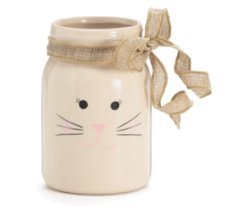 Bunny Face Jar with Burlap Bow in Oviedo FL, Oviedo Florist