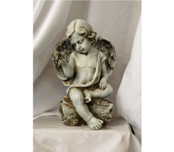 Cherub with Dove in Hales Corners WI, Barb's Green House Florist