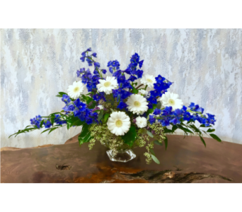 Delft Days Centerpiece-Medium Abelia Glass Compote in Wyoming MI, Wyoming Stuyvesant Floral