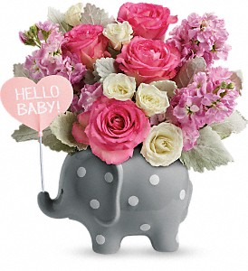 Teleflora's Hello Sweet Baby - Pink in Reno NV, Bumblebee Blooms Flower Boutique