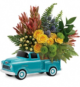 Timeless Chevy Pickup by Teleflora in Muncy PA, Rose Wood Flowers