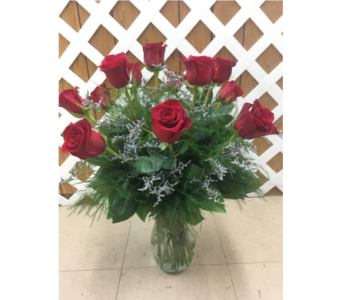 Red Roses with Limonium in Purcellville VA, Purcellville Florist