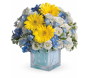 Baby''s First Block by Teleflora - Blue in Kingwood TX, Flowers of Kingwood, Inc.