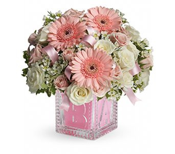 Baby's First Block by Teleflora - Pink  in Kingwood TX, Flowers of Kingwood, Inc.