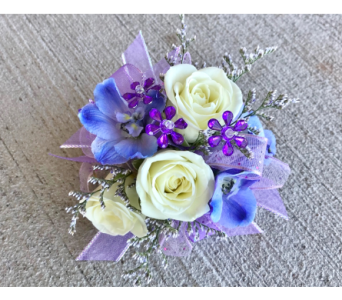 LavenderBlue Wrist Corsage in Schofield WI, Krueger Floral and Gifts