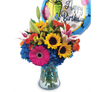Birthday Blast Bouquet with Mylar Balloon in Milwaukee WI, Alfa Flower Shop