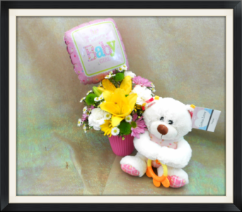 Baby Girl Bear Bouquet in Tyler TX, The Flower Box