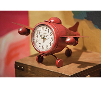 Red Airplane Shaped Table Clock in Kalispell MT, Flowers By Hansen, Inc.