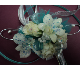 Aqua dream wristlet in Hagerstown MD, Chas. A. Gibney Florist & Greenhouse
