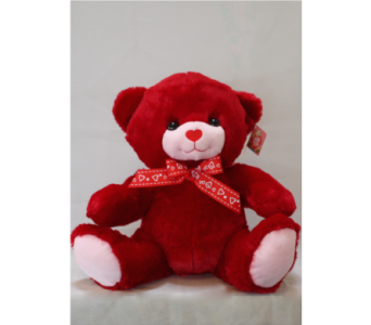 Red and Pink Teddy Bear in Westland MI, The Flower Shop