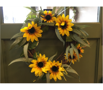 Sunflower Wreath  in Mount Kisco NY, Hollywood Flower Shop