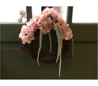 Hydrangea and Hanging Amaranthus Wreath  in Mount Kisco NY, Hollywood Flower Shop